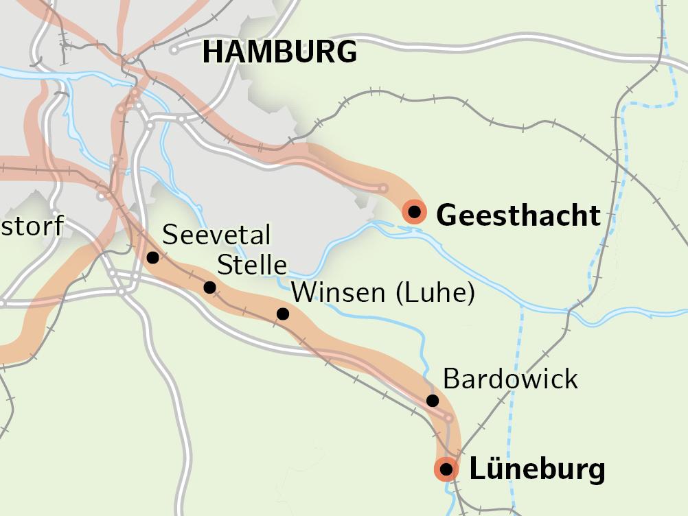 Karte vom geplanten Radschnellweg von Lüneburg über Winsen nach Harburg.