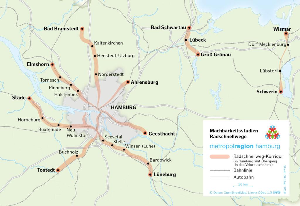 Karte der geplanten Radschnellwege in der Metropolregion Hamburg