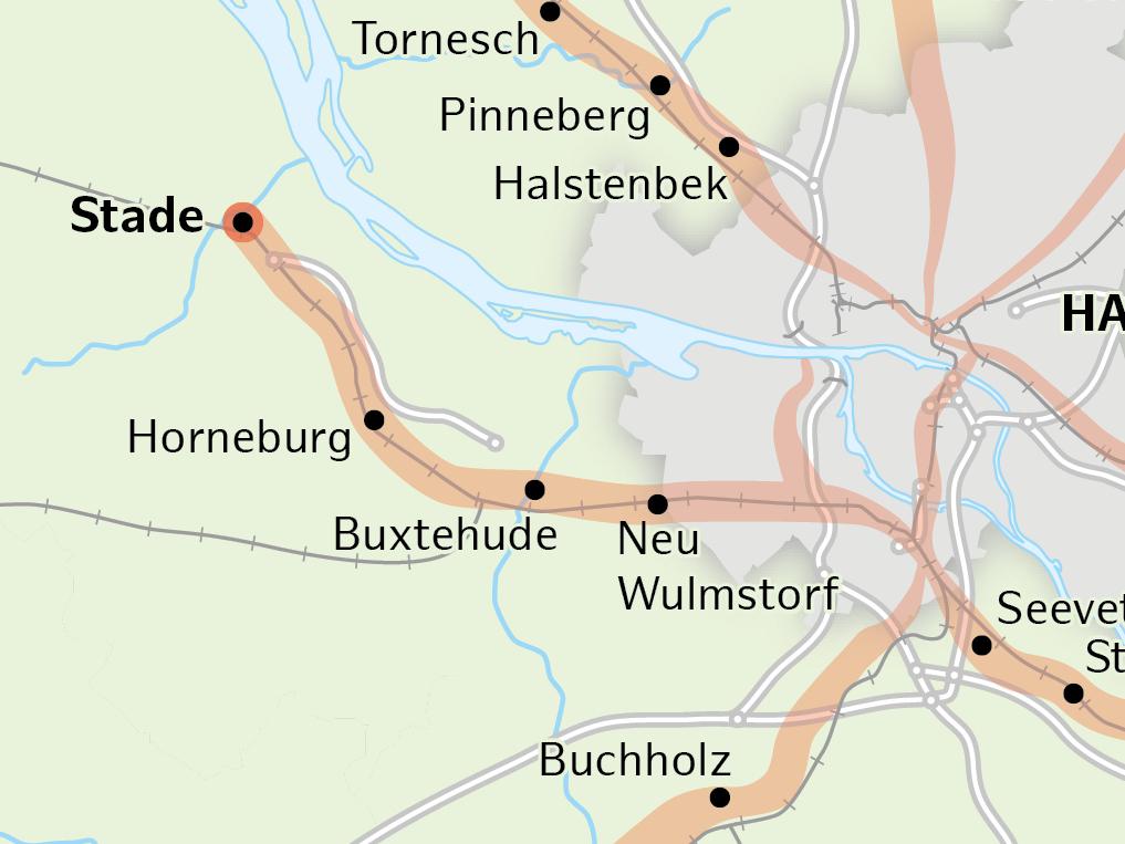 Karte vom geplanten Radschnellweg von Stade über Buxtehude nach Harburg.